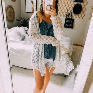 MAURICES eyelet boho hippie cardigan sweater